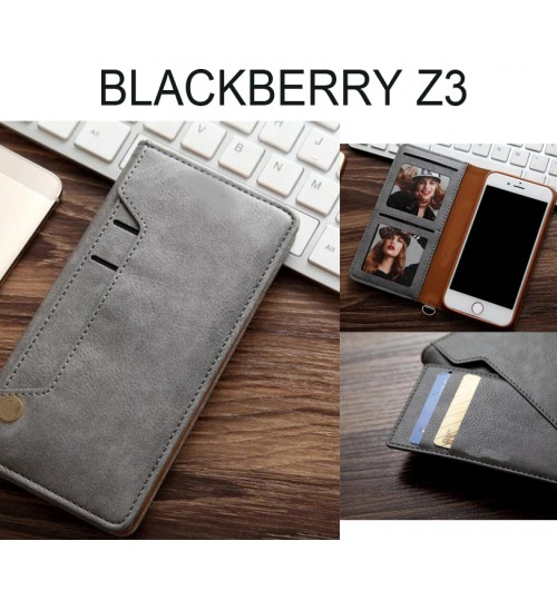 Blackberry Z3 CASE slim leather wallet case 6 cards 2 ID magnet