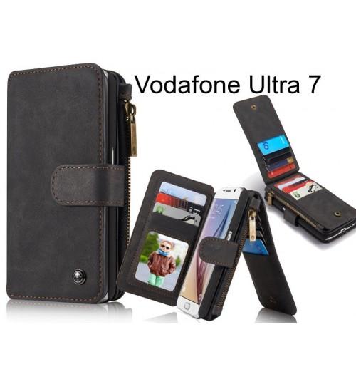 Vodafone Ultra 7 Case Retro leather case multi cards cash pocket & zip