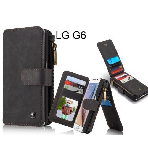 LG G6 Case Retro leather case multi cards cash pocket & zip