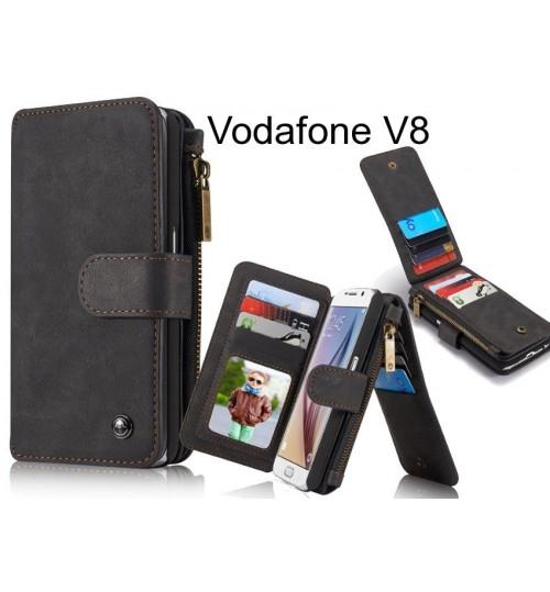 Vodafone V8 Case Retro leather case multi cards cash pocket & zip