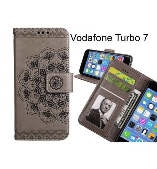 Vodafone Turbo 7 Case Premium leather Embossing wallet flip case