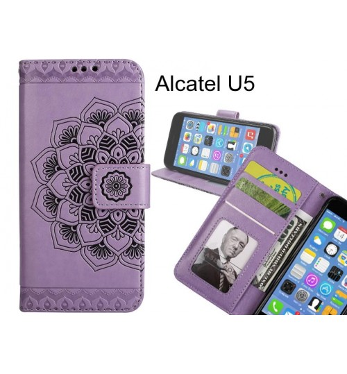 Alcatel U5 Case Premium leather Embossing wallet flip case