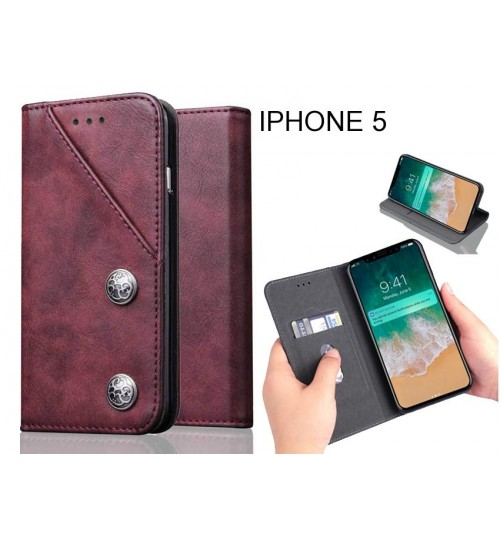 IPHONE 5 Case ultra slim retro leather wallet case 2 cards magnet case