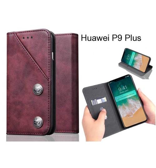 Huawei P9 Plus Case ultra slim retro leather wallet case 2 cards magnet case
