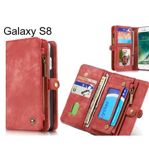 Galaxy S8 Case Retro leather case multi cards cash pocket & zip