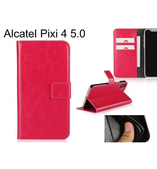 Alcatel Pixi 4 5.0 case Fine leather wallet case