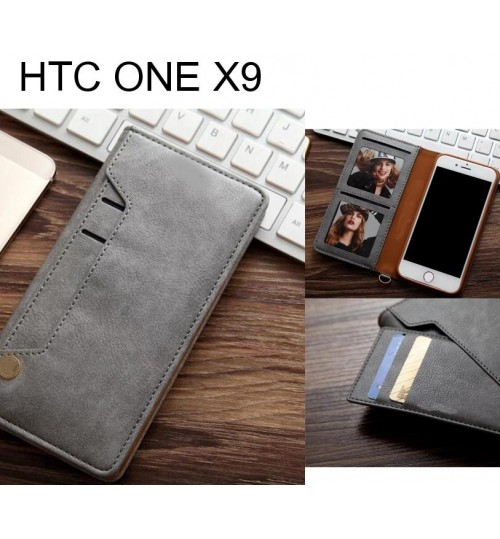 HTC ONE X9 slim leather wallet case 6 cards 2 ID magnet