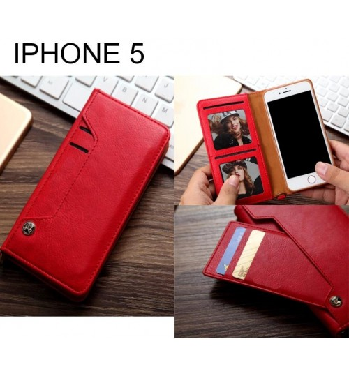 IPHONE 5 slim leather wallet case 6 cards 2 ID magnet