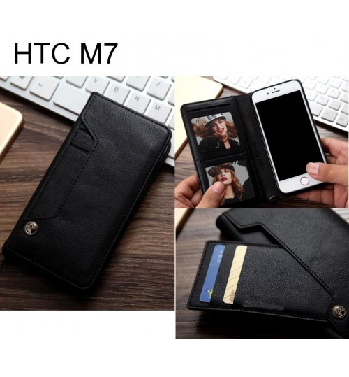 HTC M7 slim leather wallet case 6 cards 2 ID magnet