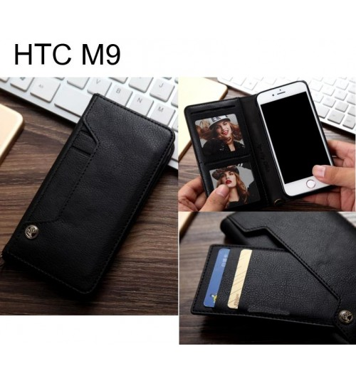 HTC M9 slim leather wallet case 6 cards 2 ID magnet
