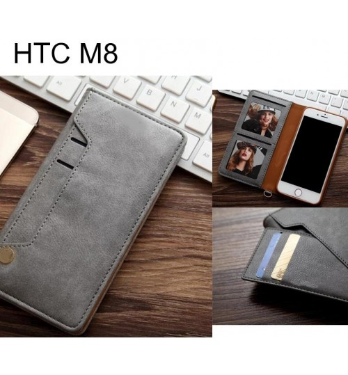 HTC M8 slim leather wallet case 6 cards 2 ID magnet