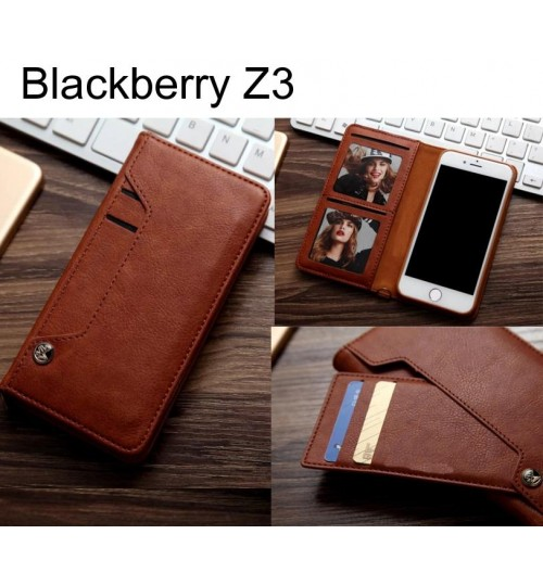 Blackberry Z3 slim leather wallet case 6 cards 2 ID magnet