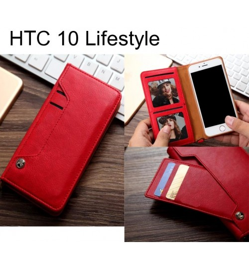 HTC 10 Lifestyle slim leather wallet case 6 cards 2 ID magnet