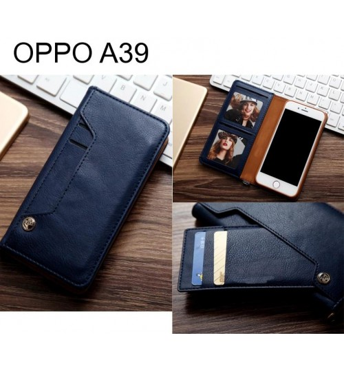 OPPO A39 slim leather wallet case 6 cards 2 ID magnet