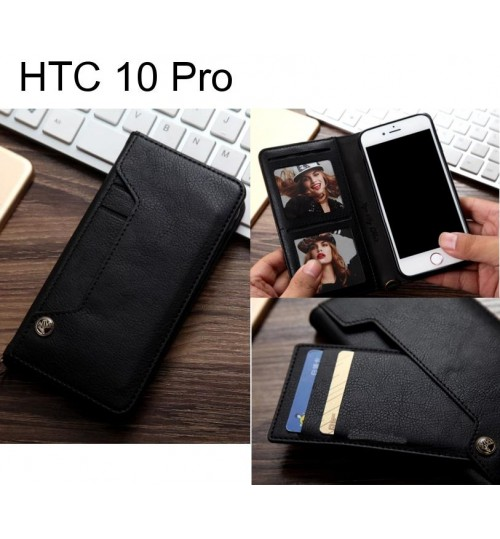 HTC 10 Pro slim leather wallet case 6 cards 2 ID magnet
