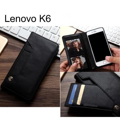 Lenovo K6 slim leather wallet case 6 cards 2 ID magnet