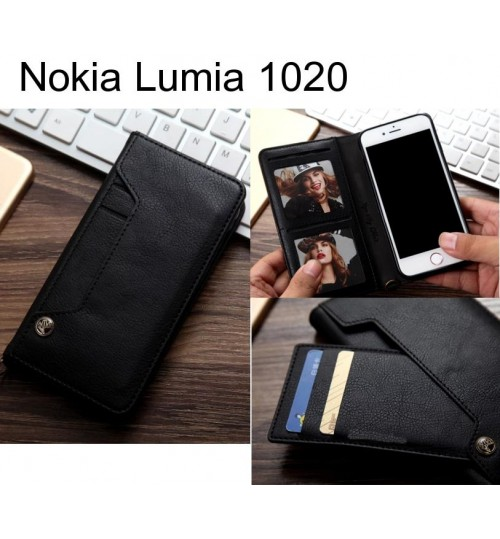 Nokia Lumia 1020 slim leather wallet case 6 cards 2 ID magnet