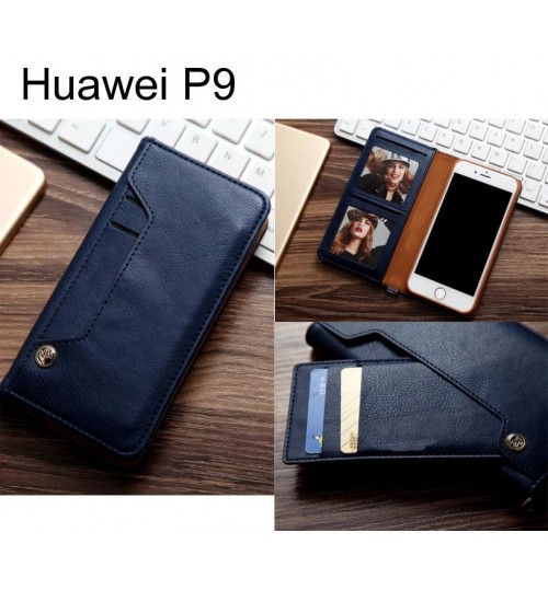 Huawei P9 slim leather wallet case 6 cards 2 ID magnet