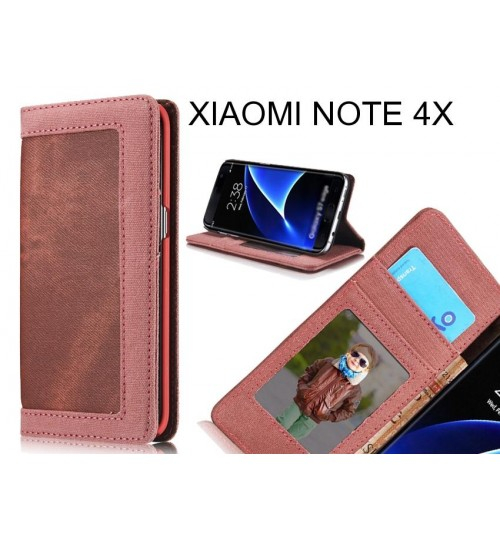 XIAOMI NOTE 4X case contrast denim folio wallet case magnetic closure