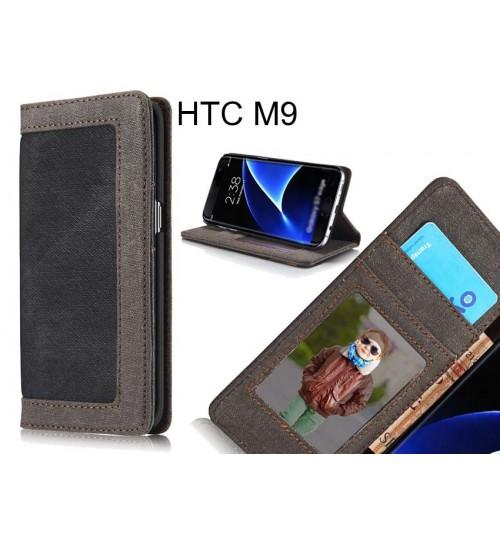 HTC M9 case contrast denim folio wallet case magnetic closure