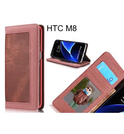 HTC M8 case contrast denim folio wallet case magnetic closure