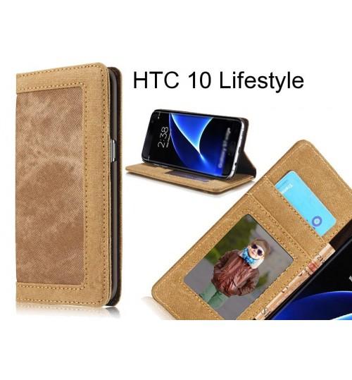 HTC 10 Lifestyle case contrast denim folio wallet case magnetic closure