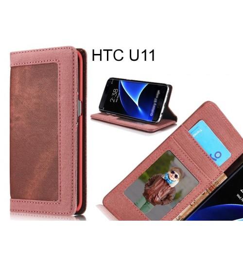 HTC U11 case contrast denim folio wallet case magnetic closure