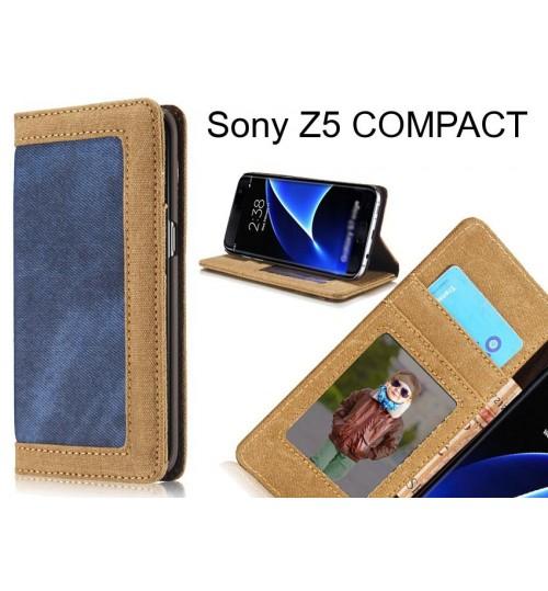 Sony Z5 COMPACT case contrast denim folio wallet case magnetic closure