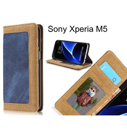Sony Xperia M5 case contrast denim folio wallet case magnetic closure