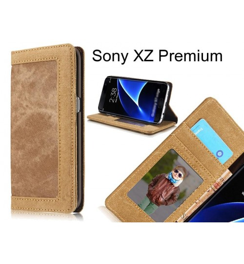 Sony XZ Premium case contrast denim folio wallet case magnetic closure