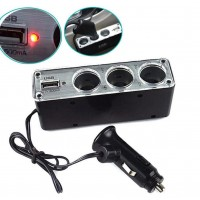 Car Cigarette Lighter Multi Socket Splitter 3 Way USB Charger Port