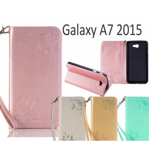Galaxy A7 2015 Premium Leather Embossing wallet Folio case