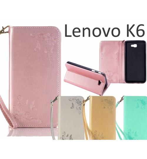 Lenovo K6 Premium Leather Embossing wallet Folio case