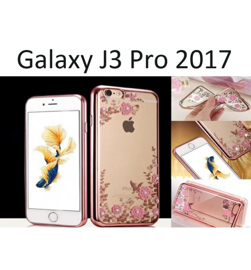 Samsung Galaxy J3 PRO 2017 soft gel tpu case luxury bling shiny floral case