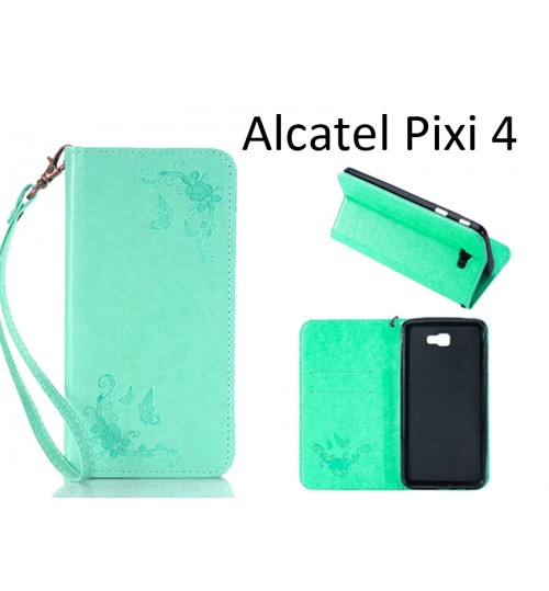 Alcatel Pixi 4 5.0 inch case Premium Leather Embossing wallet Folio case