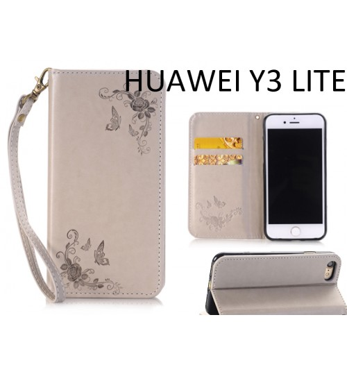 Huawei Y3 lite Premium Leather Embossing wallet Folio case