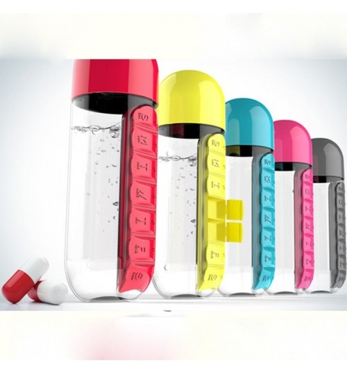 7 Daily Pill Box Water Bottle