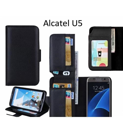 Alcatel U5 case Leather Wallet Case Cover