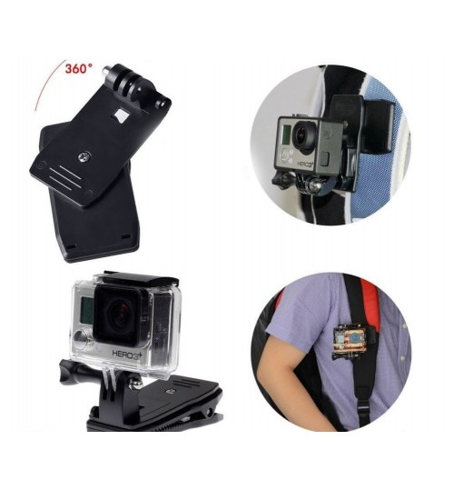 360°Rotary Backpack Hat Clip Clamp Mount compatible with GoPro