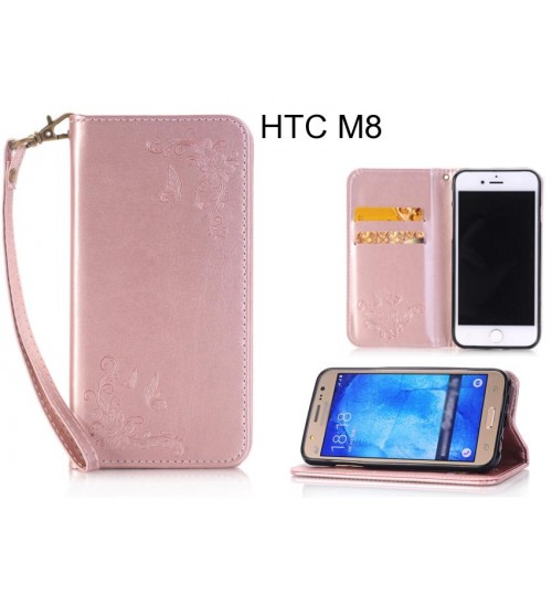 HTC M8  CASE Premium Leather Embossing wallet Folio case