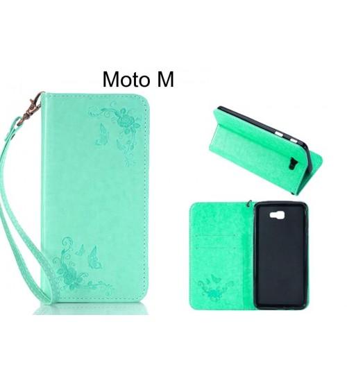 Moto M  CASE Premium Leather Embossing wallet Folio case