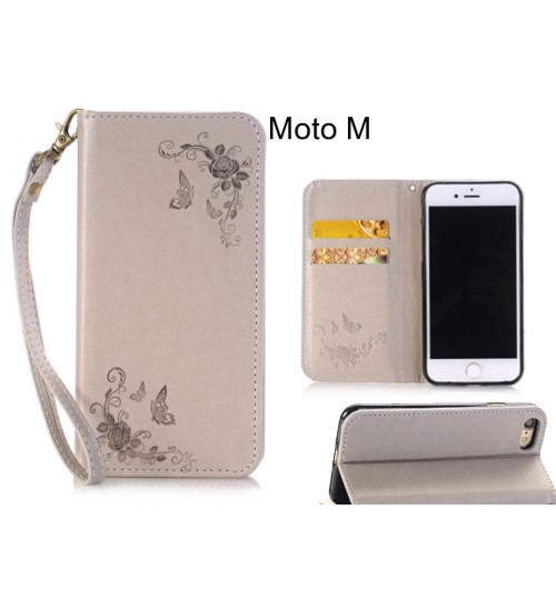 Moto M  CASE Premium Leather Embossing wallet Folio case
