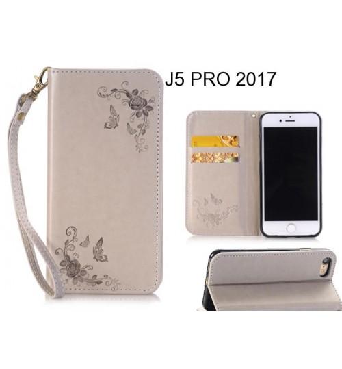 J5 PRO 2017  CASE Premium Leather Embossing wallet Folio case