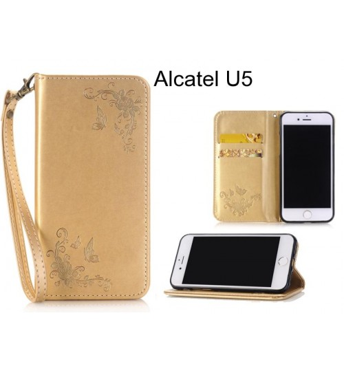 Alcatel U5  CASE Premium Leather Embossing wallet Folio case