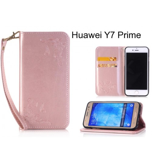 Huawei Y7 Prime  CASE Premium Leather Embossing wallet Folio case