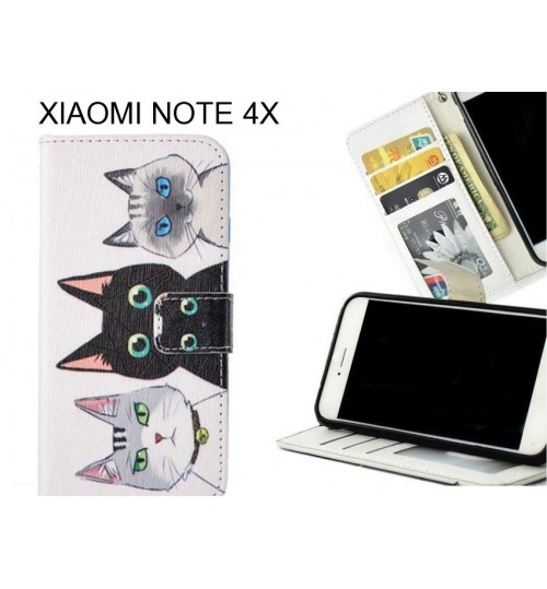 XIAOMI NOTE 4X case 3 card leather wallet case printed ID
