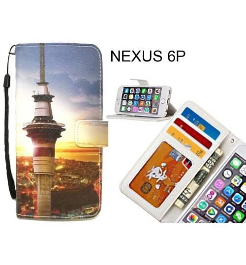 NEXUS 6P case 3 card leather wallet case printed ID