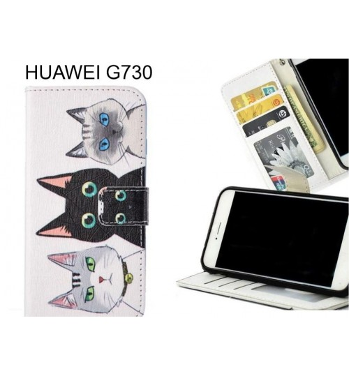 HUAWEI G730 case 3 card leather wallet case printed ID