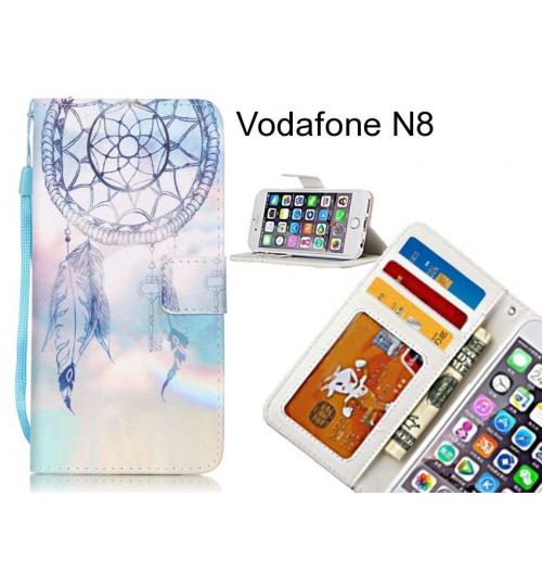Vodafone N8 case 3 card leather wallet case printed ID