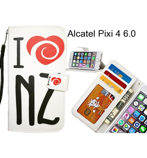 Alcatel Pixi 4 6.0 case 3 card leather wallet case printed ID